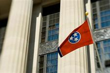 Tennessee Stag Flag in Front of Courthouse